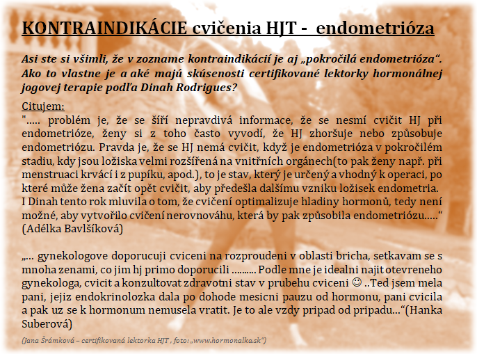 Hormonalna jogova terapia - kontraindikacie - endometrioza